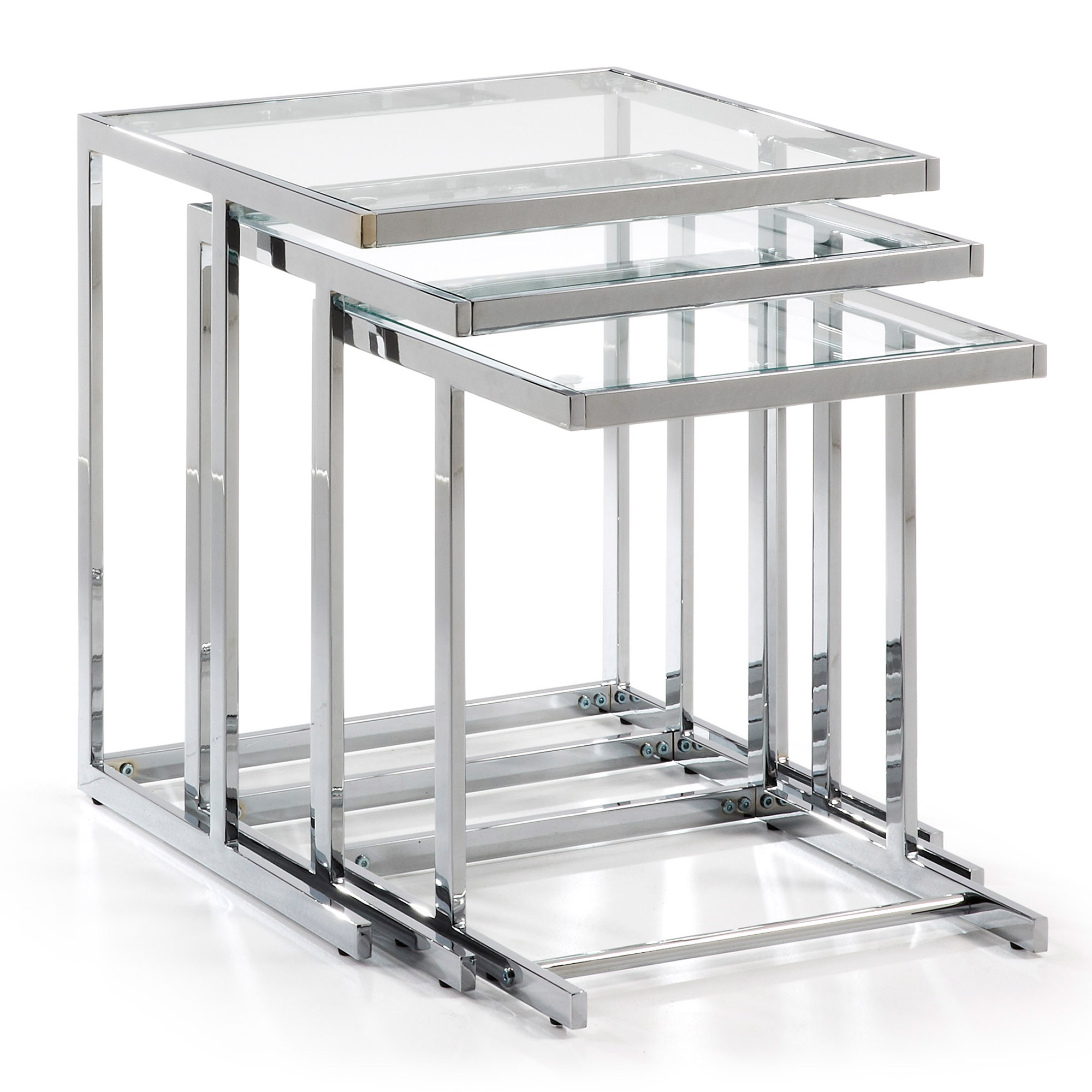 BLAIR set 3 mesas cromado cristal transparente