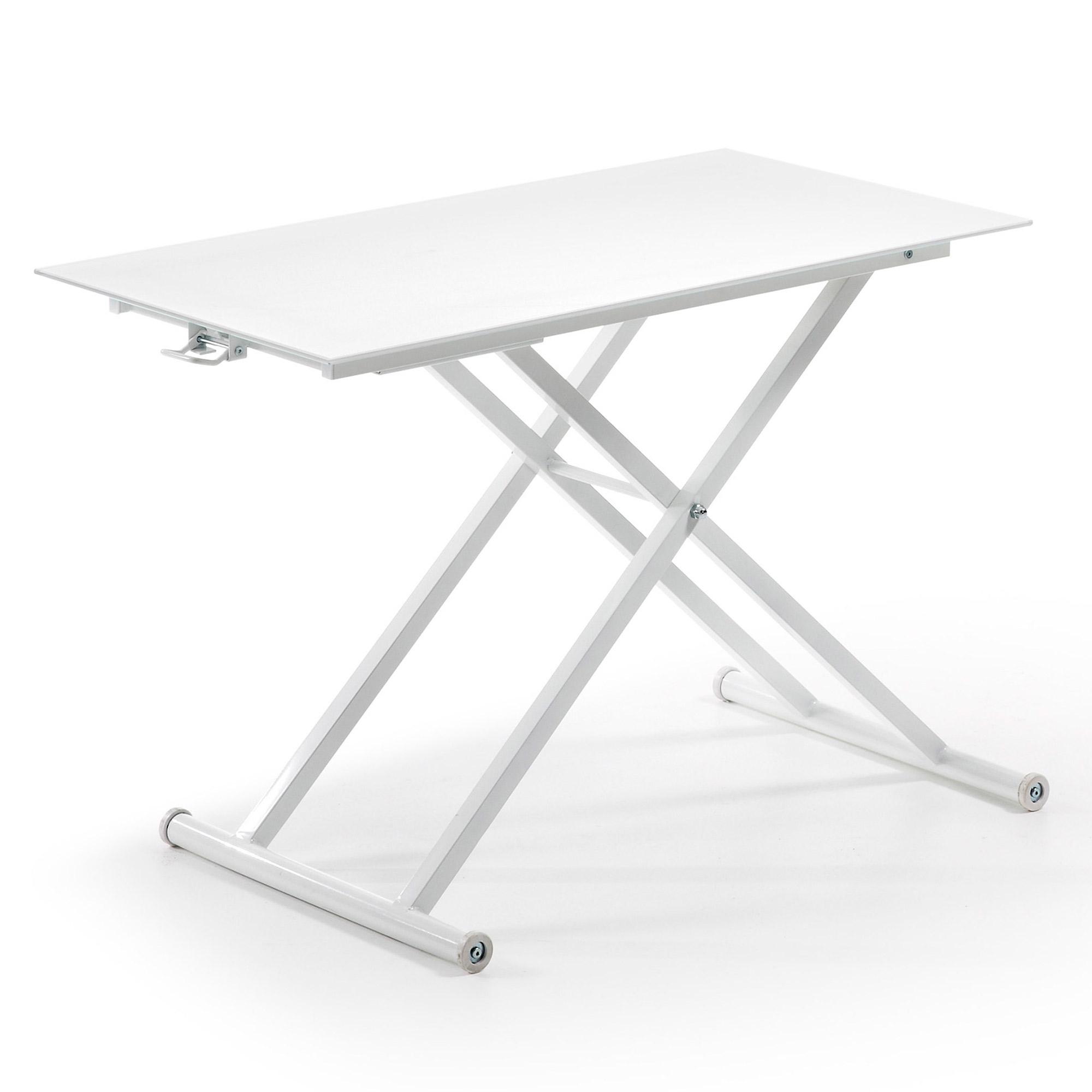 Flip mesa centro elevable blanco cristal en for Mesa centro elevable