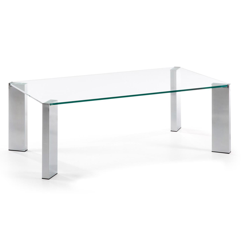 Corner mesa centro cromada cristal transparente en - Mesa centro transparente ...