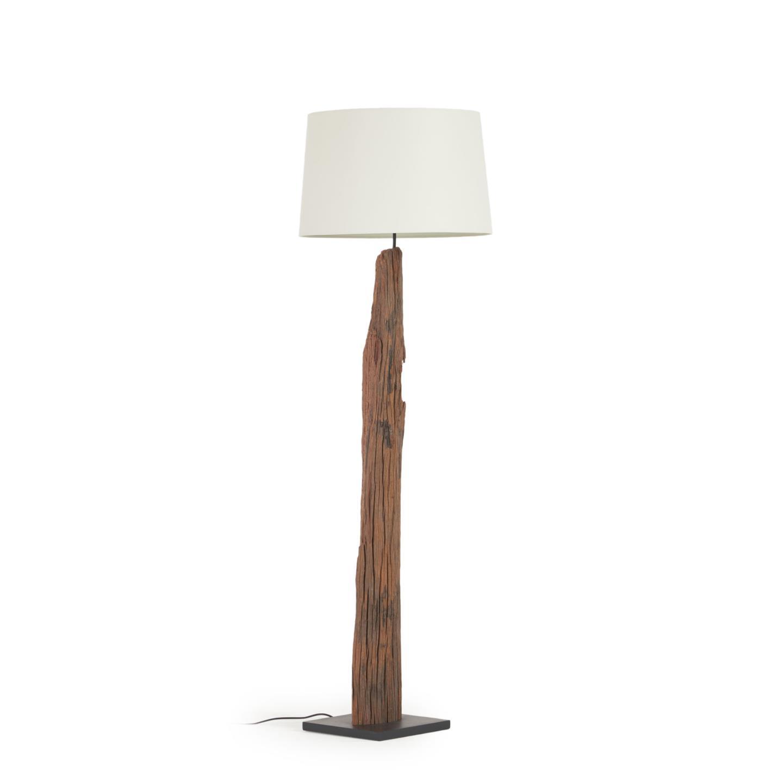 Muebles Martin Peñasco:  LLEWOP Lampara De Pie Madera Tropical Pantalla Blanca - Lámparas de Pie - Objetos de Decoración